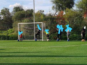 Manutenzione e illuminazione campo di calcio c da affacciata tele