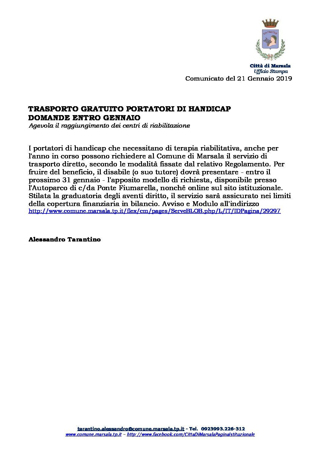 Marsala – trasporto gratuito portatori di handicap. Domande entro Gennaio