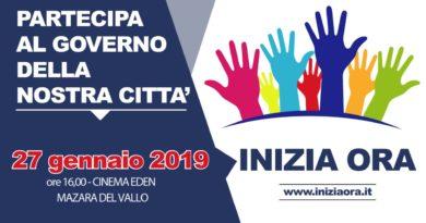 Mazara domenica 27 gennaio 'INIZIA ORA': evento in vista delle Amministrative 2019